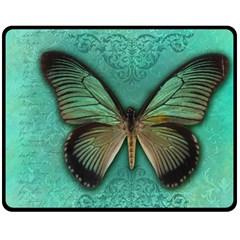 Butterfly Background Vintage Old Grunge Double Sided Fleece Blanket (medium)