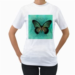 Butterfly Background Vintage Old Grunge Women s T Shirt (white)