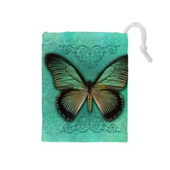 Butterfly Background Vintage Old Grunge Drawstring Pouches (medium)