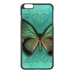 Butterfly Background Vintage Old Grunge Apple Iphone 6 Plus/6s Plus Black Enamel Case