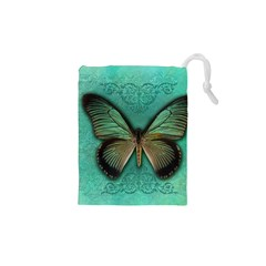 Butterfly Background Vintage Old Grunge Drawstring Pouches (xs)
