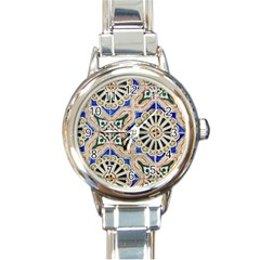 Ceramic Portugal Tiles Wall Round Italian Charm Watch