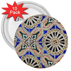 Ceramic Portugal Tiles Wall 3  Buttons (10 Pack)