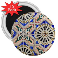 Ceramic Portugal Tiles Wall 3  Magnets (10 Pack)