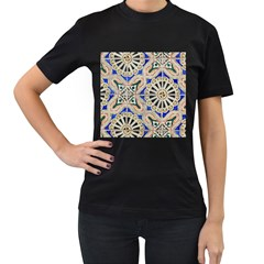 Ceramic Portugal Tiles Wall Women s T-Shirt (Black) (Two Sided)