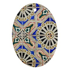 Ceramic Portugal Tiles Wall Oval Ornament (two Sides)