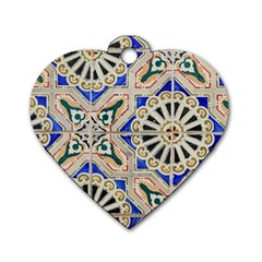 Ceramic Portugal Tiles Wall Dog Tag Heart (two Sides)