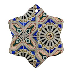 Ceramic Portugal Tiles Wall Snowflake Ornament (two Sides)
