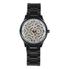 Ceramic Portugal Tiles Wall Stainless Steel Round Watch