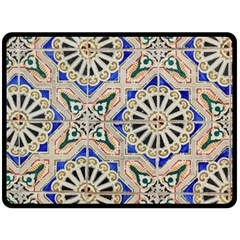 Ceramic Portugal Tiles Wall Double Sided Fleece Blanket (large)