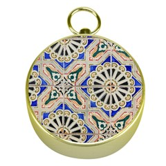 Ceramic Portugal Tiles Wall Gold Compasses