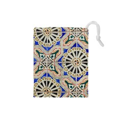 Ceramic Portugal Tiles Wall Drawstring Pouches (small)