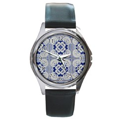 Ceramic Portugal Tiles Wall Round Metal Watch