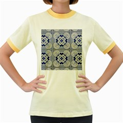 Ceramic Portugal Tiles Wall Women s Fitted Ringer T Shirts