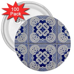 Ceramic Portugal Tiles Wall 3  Buttons (100 Pack)