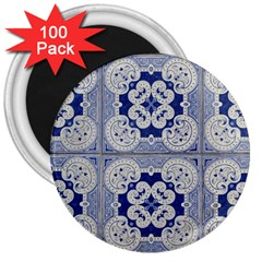 Ceramic Portugal Tiles Wall 3  Magnets (100 pack)
