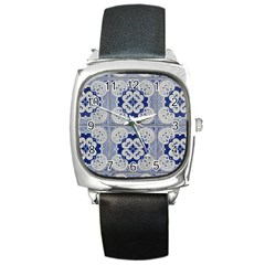 Ceramic Portugal Tiles Wall Square Metal Watch