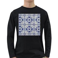 Ceramic Portugal Tiles Wall Long Sleeve Dark T Shirts