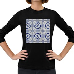 Ceramic Portugal Tiles Wall Women s Long Sleeve Dark T Shirts