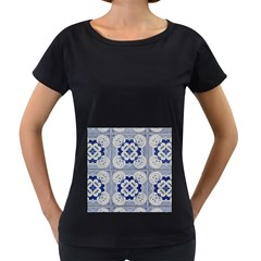 Ceramic Portugal Tiles Wall Women s Loose Fit T Shirt (black)