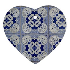 Ceramic Portugal Tiles Wall Heart Ornament (two Sides)