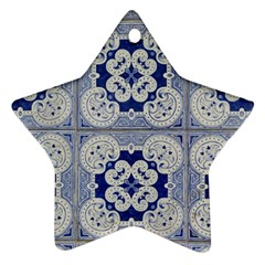 Ceramic Portugal Tiles Wall Star Ornament (two Sides)