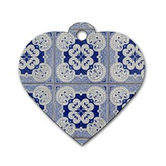 Ceramic Portugal Tiles Wall Dog Tag Heart (one Side)