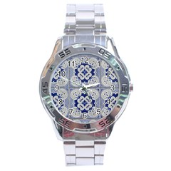 Ceramic Portugal Tiles Wall Stainless Steel Analogue Watch