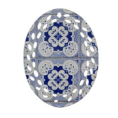 Ceramic Portugal Tiles Wall Oval Filigree Ornament (two Sides)