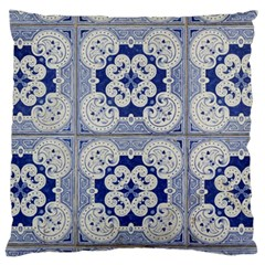 Ceramic Portugal Tiles Wall Large Flano Cushion Case (one Side)