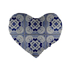 Ceramic Portugal Tiles Wall Standard 16  Premium Flano Heart Shape Cushions