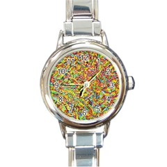 Canvas Acrylic Design Color Round Italian Charm Watch