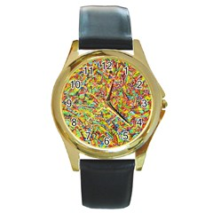 Canvas Acrylic Design Color Round Gold Metal Watch