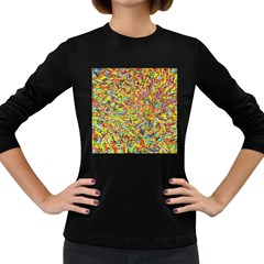 Canvas Acrylic Design Color Women s Long Sleeve Dark T Shirts