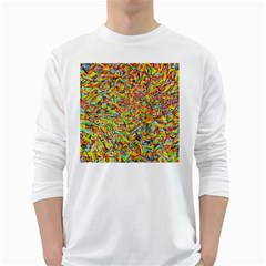 Canvas Acrylic Design Color White Long Sleeve T Shirts
