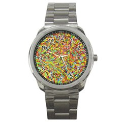 Canvas Acrylic Design Color Sport Metal Watch