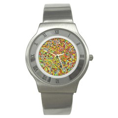 Canvas Acrylic Design Color Stainless Steel Watch