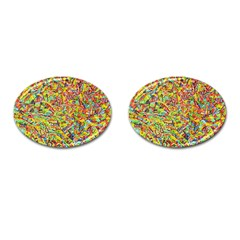 Canvas Acrylic Design Color Cufflinks (oval)