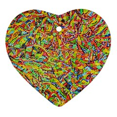 Canvas Acrylic Design Color Heart Ornament (two Sides)