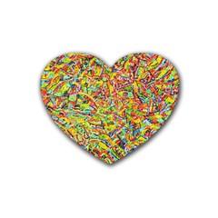Canvas Acrylic Design Color Rubber Coaster (heart)