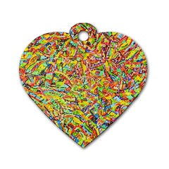 Canvas Acrylic Design Color Dog Tag Heart (Two Sides)