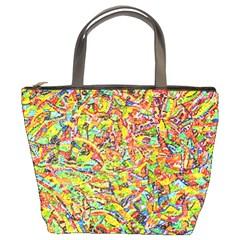 Canvas Acrylic Design Color Bucket Bags