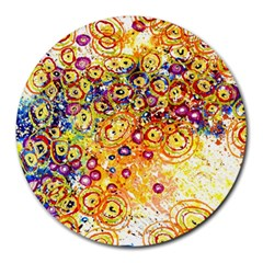 Canvas Acrylic Design Color Round Mousepads