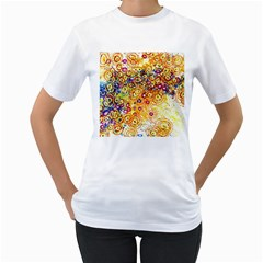 Canvas Acrylic Design Color Women s T Shirt (white) (two Sided)