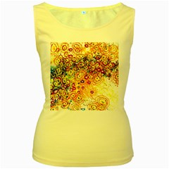 Canvas Acrylic Design Color Women s Yellow Tank Top