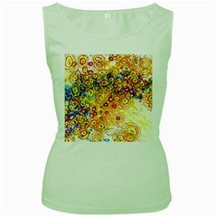 Canvas Acrylic Design Color Women s Green Tank Top