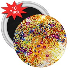 Canvas Acrylic Design Color 3  Magnets (10 Pack)