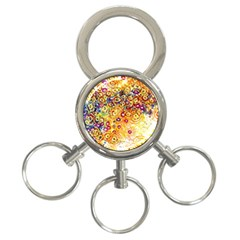 Canvas Acrylic Design Color 3 Ring Key Chains