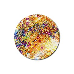 Canvas Acrylic Design Color Rubber Round Coaster (4 pack)
