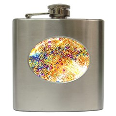 Canvas Acrylic Design Color Hip Flask (6 oz)